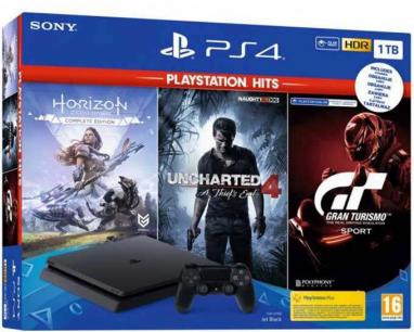 PlayStation PS4 1TB Hits Bundle (GT Sport+HZD CE+UC4)